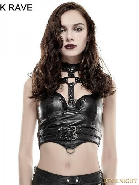 Black Gothic Punk Sexy Vest For Women Devilnight Co Uk