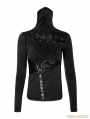Black Gothic Steampunk Mask Style T-Shirt for Women