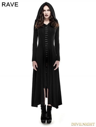 Black Gothic Long Knit Hooded Dress