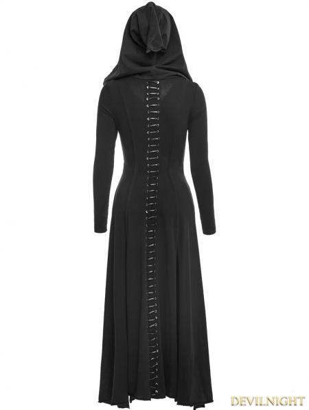 Black Gothic Long Knit Hooded Dress - Devilnight.co.uk