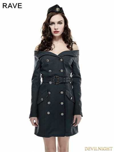 Off-the-Shoulder Gothic Sexy Military Uniform Dress