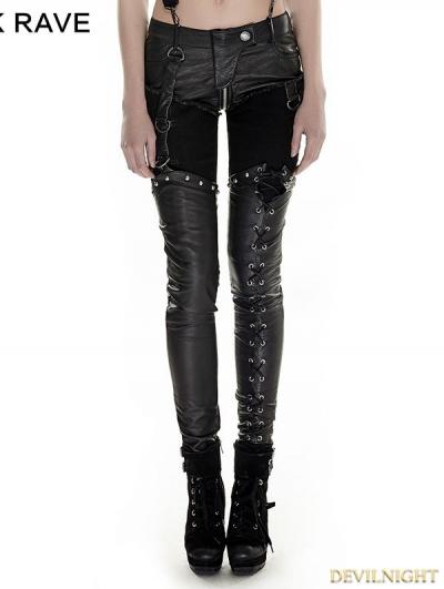 Black Gothic Punk Military Uniform Pants for Women