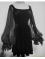 Black Velvet Long Sleeves Short Gothic Dress