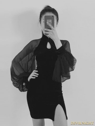 Black Velvet Sexy Cheongsam Style Gothic Dress