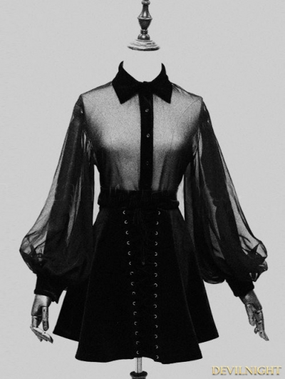 Black Sexy Gothic Long Sleeves Blouse for Women