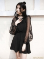 Black Gothic Short Dress with Long Organze Sleeves