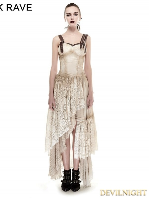 Asymmetrical Hem Lace Do Old Steampunk Dress