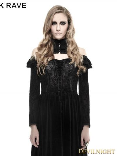 Black Gothic Flocking Flower T-Shirts for Women