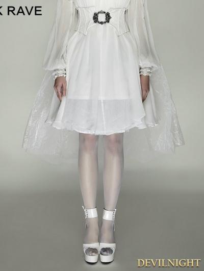 White Gothic Mesh Swallow-Tail Dress