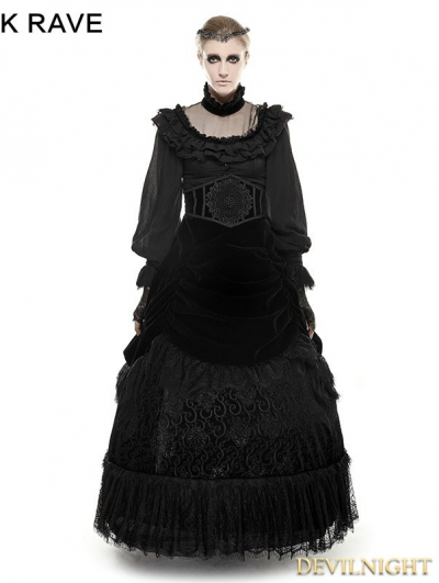 Black Gothic Palace Big Swing Long Skirt