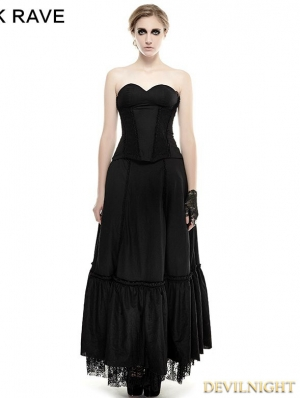 Black Lace Hem Gothic Dress