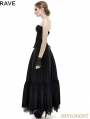 Black Lace Hem Gothic Dress
