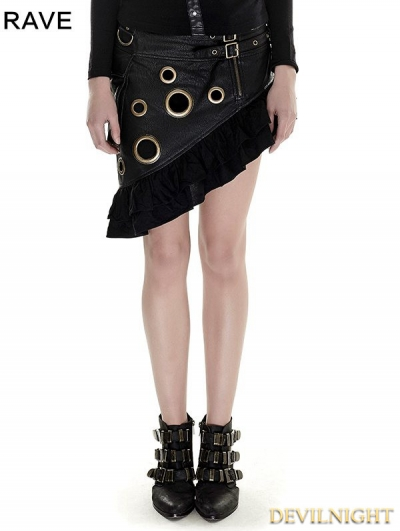 Black Steampunk Flounce Skirt