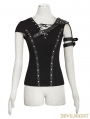 Black Armor Shoulder Gothic T-Shirt for Women