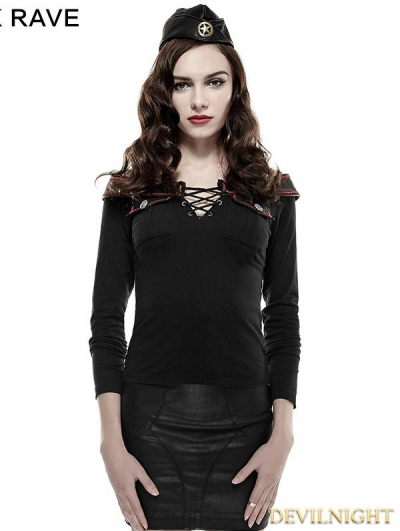 Black Off-the-Shoulder Military T-Shirt for Women