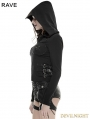 Black Gothic Punk Hollow-Out Wings Sweater with Hood