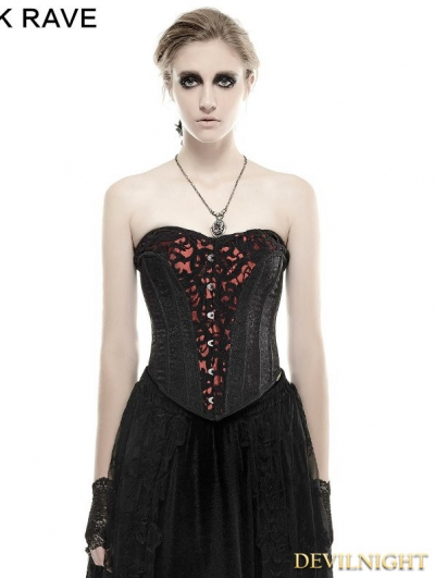 Black Gothic Three-Dimensional Flowers Corset