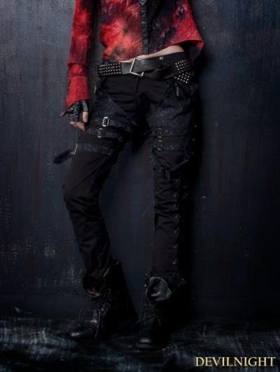 Black Gothic Punk Belt Pants for Women