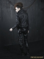 Black Gothic Leather Rivet Pants for Women