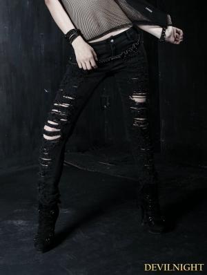 Black Gothic Punk Denim Trousers