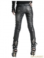 Black and Sliver Leather Gothic Punk Pants for Women
