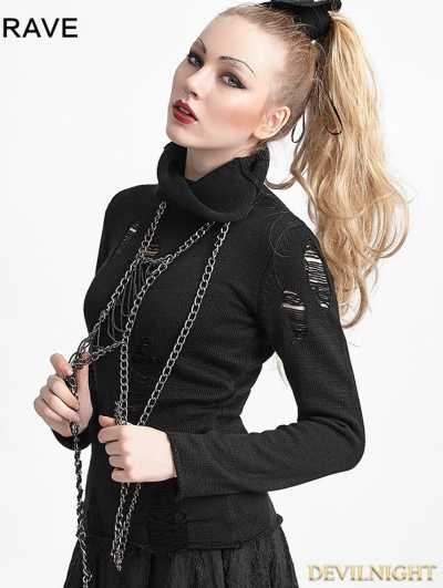 Black Gothic Punk Hollow-Out Broken Holes Sweater