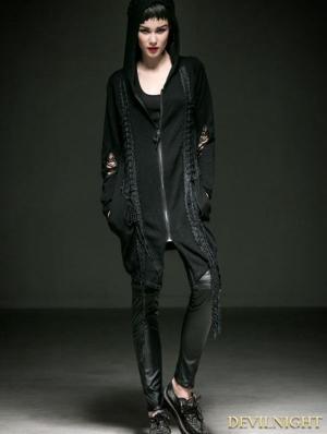 Black Gothic Punk Hat Cardigan for Women