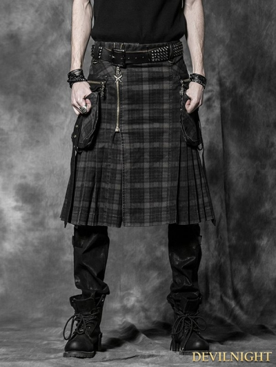 Plaid Gothic Punk Skirt for Men