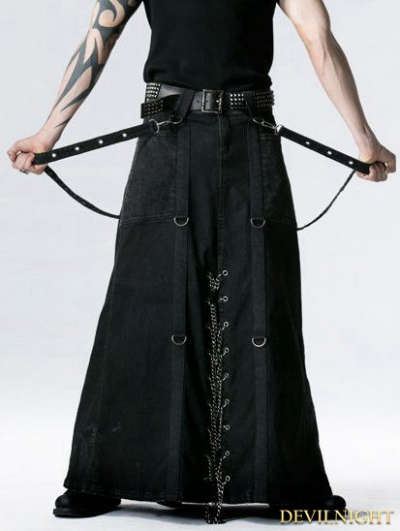 Black Gothic Punk Heavy Metal Long Skirt for Men