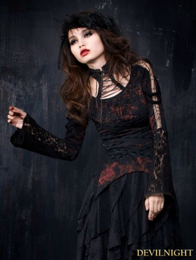 Black and Red Gothic Long Sleeve T-Shirt for Women