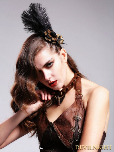 Brown Velevt Steampunk Necklace for Women