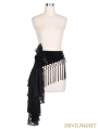 Black Pattern Tassels Gothic Waistband for Women