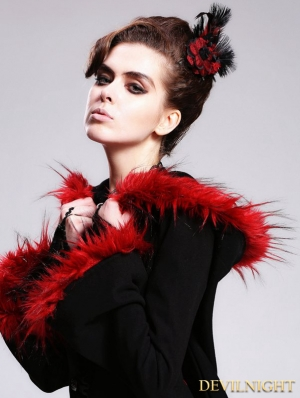 Rose Flower Feather Gothic Headdress for Women