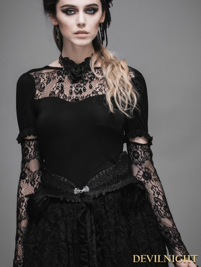 Black Feather Gothic Palace Style Waistband for Women