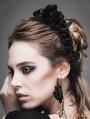 Black Rose Lace Romantic Gothic Headdress for Women