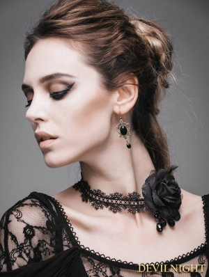 Black Rose Romantic Gothic Necklace for Women