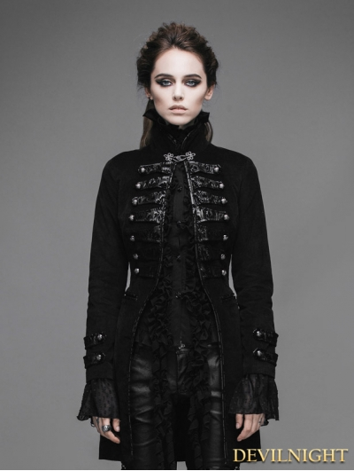 Black Double-Breasted Gothic Palace Style Coat for Women