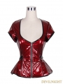 Red PVC Gothic Short Sleeves Shirt for Women
