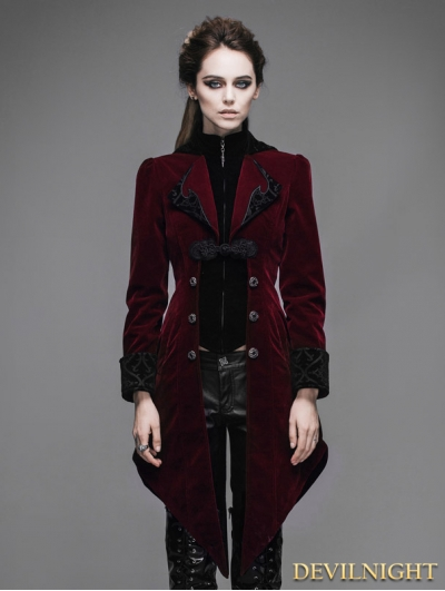 Red Vintage Gothic Swallow Tail Jacket for Women