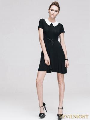 Black Short Sleeves Hepburn Style Gothic Dress