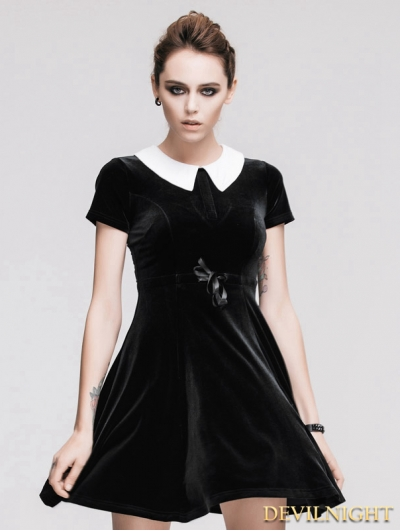 Black Short Sleeves Velvet Hepburn Style Gothic Dress