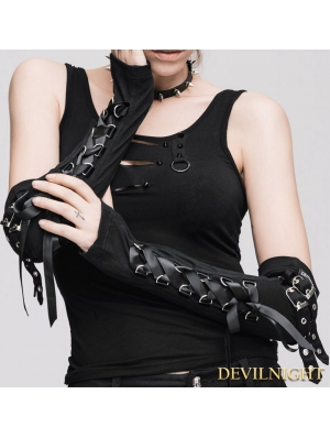 Black Gothic Punk Long Gloves