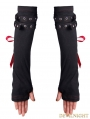 Black Gothic Punk Red Ribbon Long Gloves