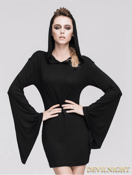 Black Gothic Witch Sexy Hooded Dress For Women Devilnight