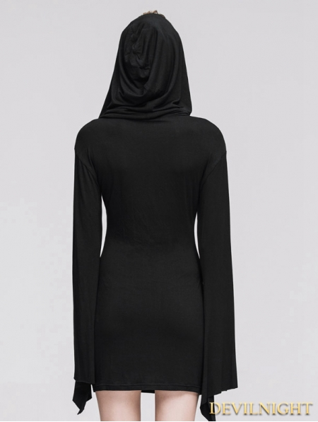 Black Gothic Witch Sexy Hooded Dress for Women - Devilnight.co.uk fac81fc064
