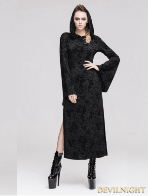 Black Pattern Gothic Hooded Long Dress for Women