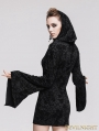 Black Pattern Gothic Witch Sexy Hooded Dress for Women