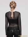 Black Net Long Sleeves Gothic T-shirt for Women