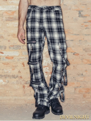 Black and White Plaid Gothic Pants for Men