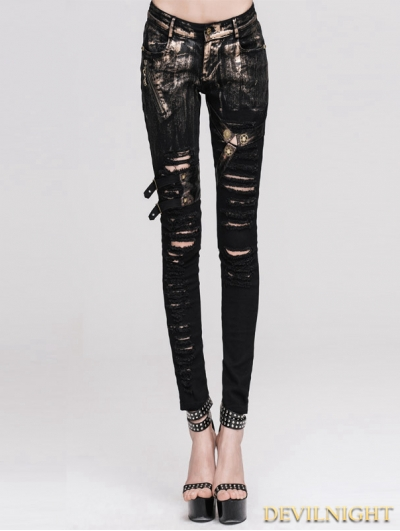 Devil Fashion Steampunk Denim Jeans for Women